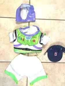 BUILD A BEAR BUZZ LIGHTYEAR OUTFIT, BOSTON RED SOX hat, NE PATS