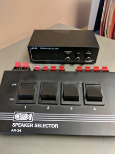 Stereo equipment speaker selector and cd aux selector