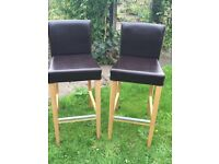 Pair IKEA Leather Bar Chairs