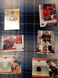 4 Jersey Hockey Cards Plus 2 Autographed Cards