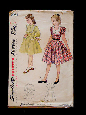 1940's Vintage SIMPLICITY #2931 GIRLS 1pc BOW-BACK DRESS Fashion PATTERN / Sz 7