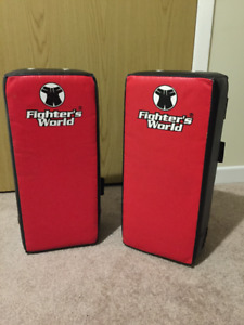 Fighter's World Leather Rectangle Punching Kicking Pad Arm Shied