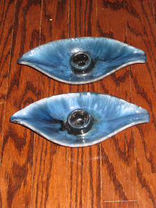 Vintage Blue Mountain Pottery Candle Holders