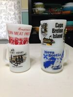 Milk glass vintage souvenir mugs