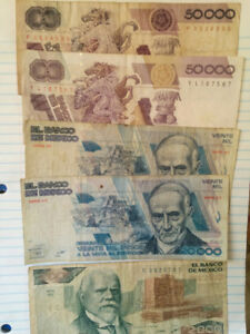 Billets Pesos 1987 collection de monnaie Mexico
