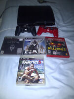 PS3 slim-250 G, MINT +4 games and 2 controllers!