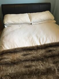 Faux leather brown double bed frame