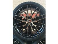 """20"""" Polished Black and Bronze Alloys and Tyres"""