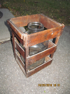 Vintage Wooden Crate with Bottle
