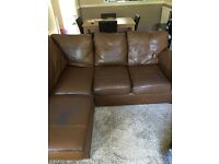 Next brown leather corner sofa