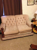 Beige Love Seat with wood