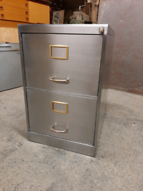 Vintage Industrial Steel Filing Cabinet Stripped Polished Delivery Ava