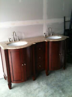 Double vanity with faucets