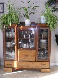 Antique Table, Hutch & China Cabinet