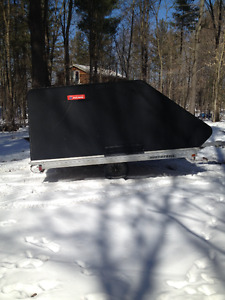 Double Wide enclosed snowmobile trailer.