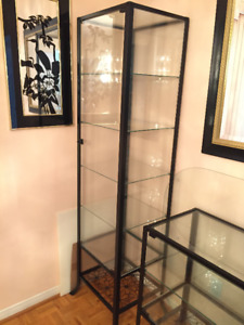 Two Glass-door cabinet, black, clear glass