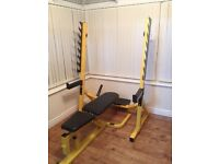 Bodymax squat rack and bench and dumbbells