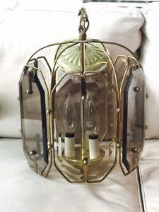 Chandelier - Vintage Smoked Glass & Brass