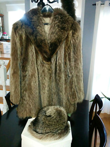 Racoon fur coat and hat