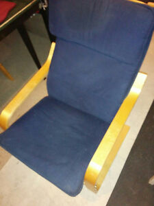 Ikea Poang Wooden Chair W/ Navy Cushion