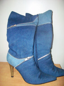 Elegant jeans boots with zippers for spring & fall Cambridge Kitchener Area image 1