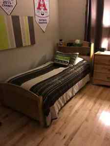 Solid birch single bed frame with box spring and mattress