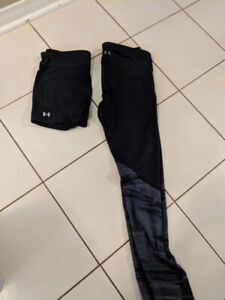 Under armour crop tights and shorts black size L
