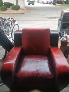 Red leather chair and loveseat furniture