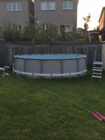 """Swimming Pool Above ground 14' wide x 36"""" high Intex"""