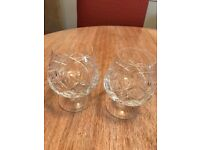 Cut Glass Brandy Glasses ( 2 Pairs )