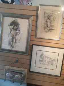 Black and white charcoal and pencil drawings