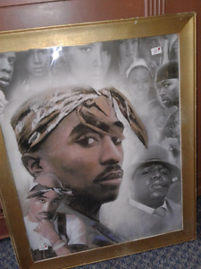 Tupac Shakur Rare  framed picture with other dead rappers
