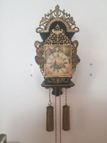 Antique Original Dutch Frisian Mermaid Clock, Hand painted and fully functional