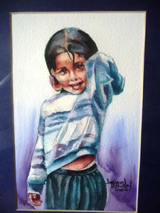 "Watercolor Lithograph by Lisandro Lopez Baylon ""Portrait of Indi Stratford Kitchener Area image 2"