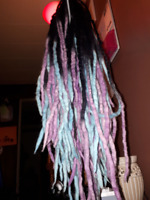 Cotton candy dread extensions