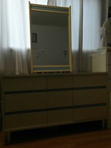 9 DRAWER WHITE DRESSER WITH MIRROR AND NIGHT TABLE
