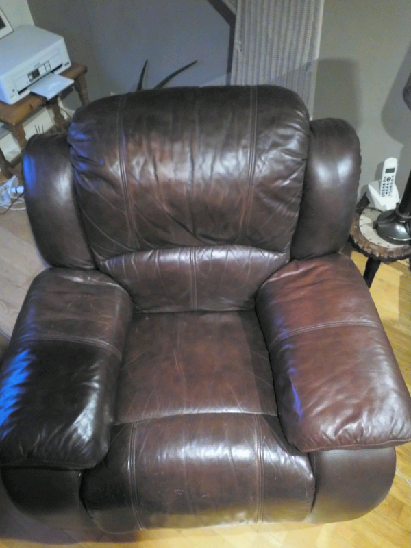 Brown Leather Manual Recliner Armchair