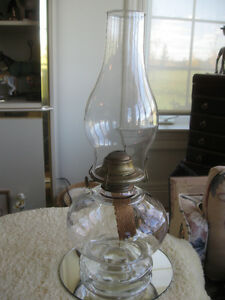 2 PLAIN SIMPLE OLD-FASHIONED-STYLED CLEAR GLASS OIL LAMP