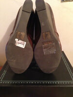 Brown wedged heel shoes size 9