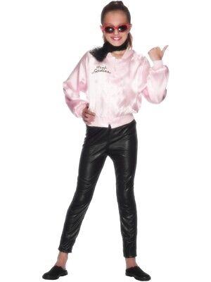 Grease Mädchen Jacke Pink mit Logo Kostüm Kinder Pink Lady Kinderkostüm ()