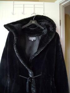 Ladies Black Faux Fur Jacket - Size Medium
