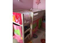White washed pine mid sleeper cabin single bed