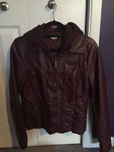 Stylish Burgundy Faux Leather Jacket with Hood St. John's Newfoundland image 1