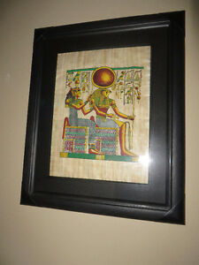 "egyptian framed pictures measures w 21"" H 25"""