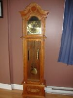 oak color battery operated grandfather clock