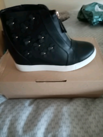 Ladies brand new high top wedge trainers