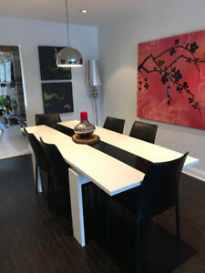 Modern black and white dining table - expandable