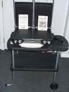 indoor, outdoor george foreman electric grill & stand never used