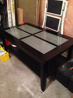 Black Wood Coffee Table with Glass Inserts