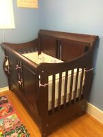 Sleigh bed crib and matching change table